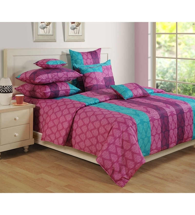 Purple Cotton Single Size Bedsheet - Set of 2 by Swayam