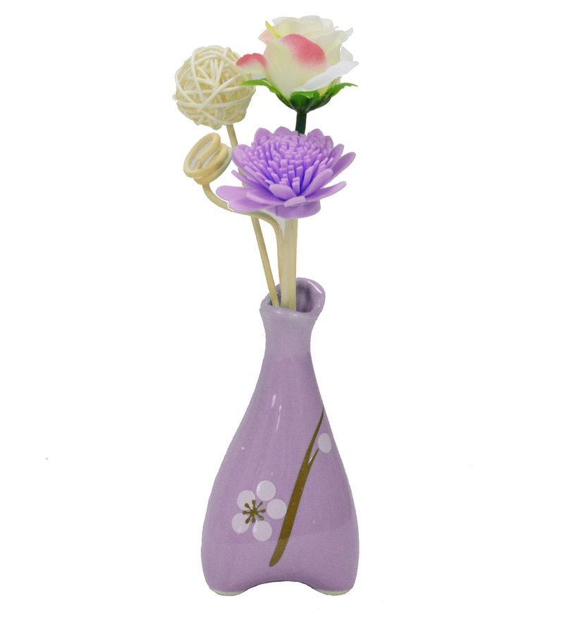 Purple Floral Reed Sticks Aroma Oil Diffuser by Stybuzz