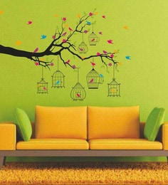 PVC Vinyl Branches With Flowers & Birds Cages Home Decoration Wall Sticker