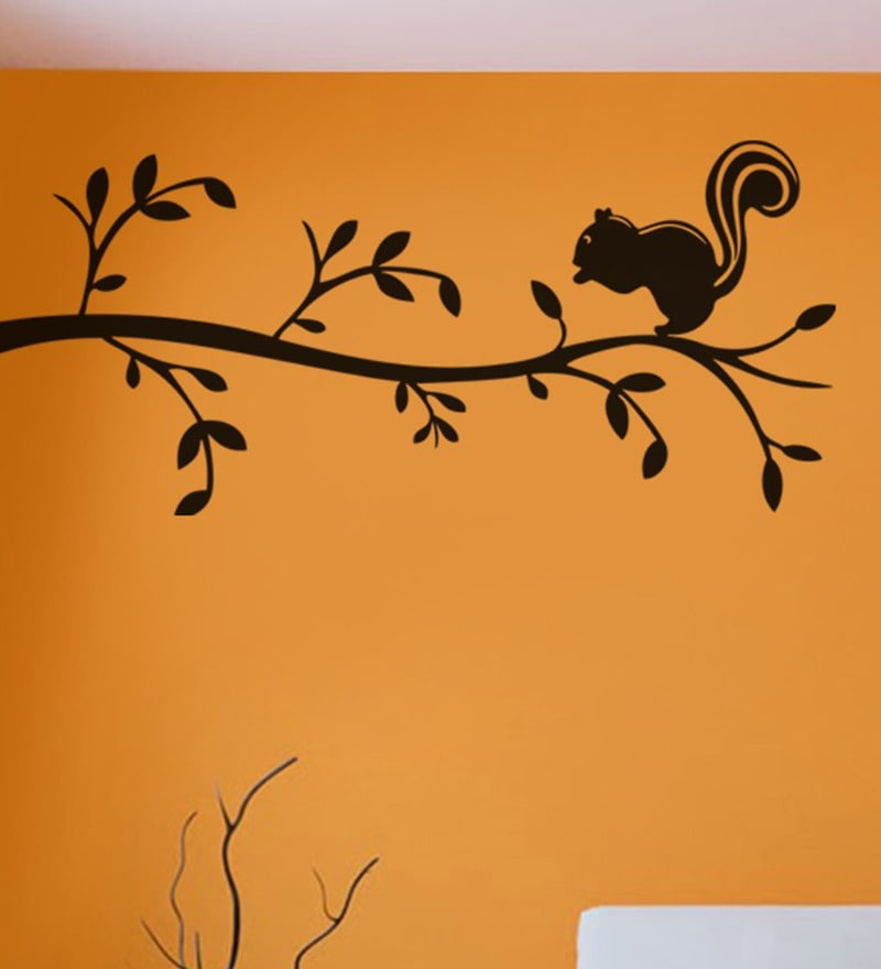 PVC Vinyl 55 x 26 Inch Black Tree Branches and Cute Squirrel Wall Sticker by Print Mantras