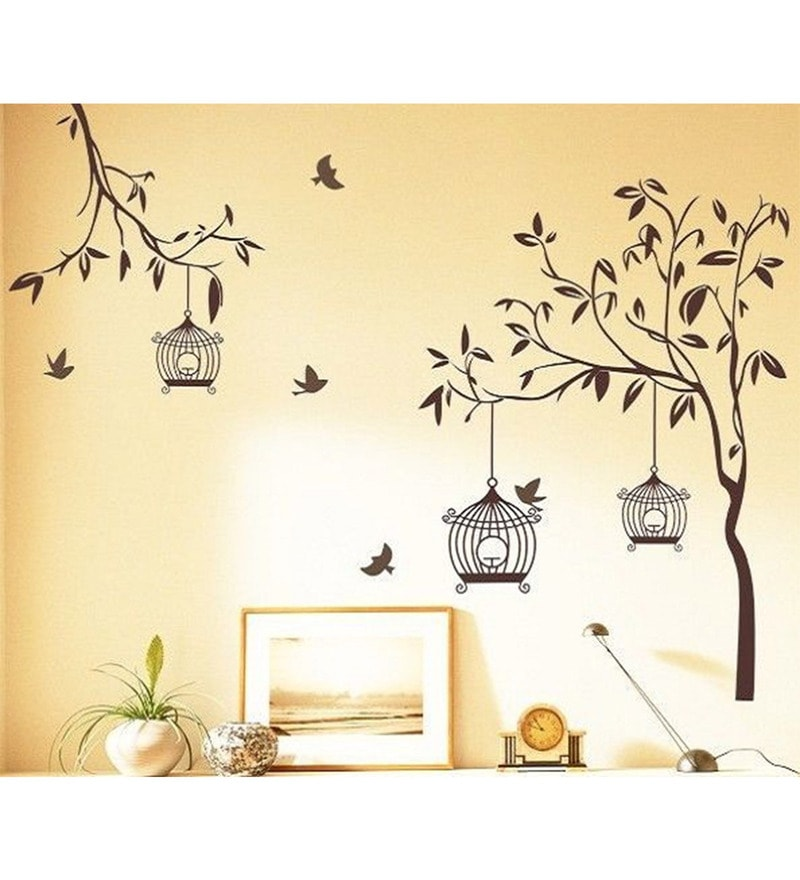 PVC Vinyl 65 x 52 Inch Tree Birds and Cage Wall Sticker by Print Mantras