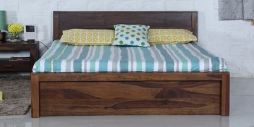 Acropolis Queen Bed With Box Storage In Provincial Teak Finish