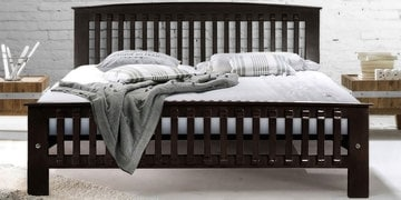Queen Size Bed In Matte Rosewood Finish By Furncoms