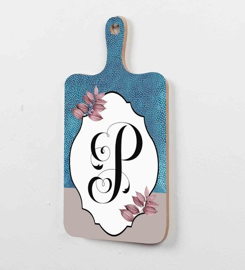 Buy Blue Quirky P Letter Wood Art Print Floral Wall Plaque By Baandhani Online Wall Tiles Wall Art Home Decor Pepperfry Product