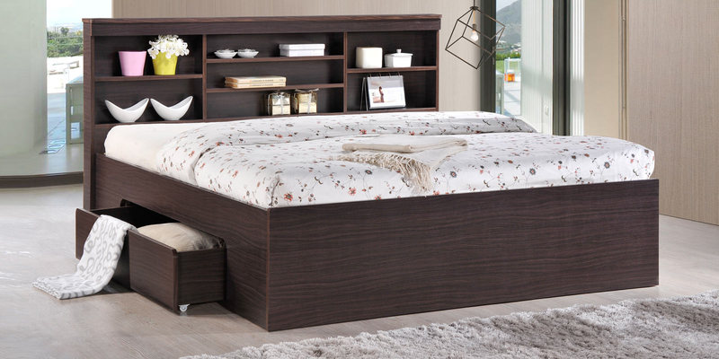 Toya Queen Size Bed with Drawer Storage in Walnut Finish by Mintwud