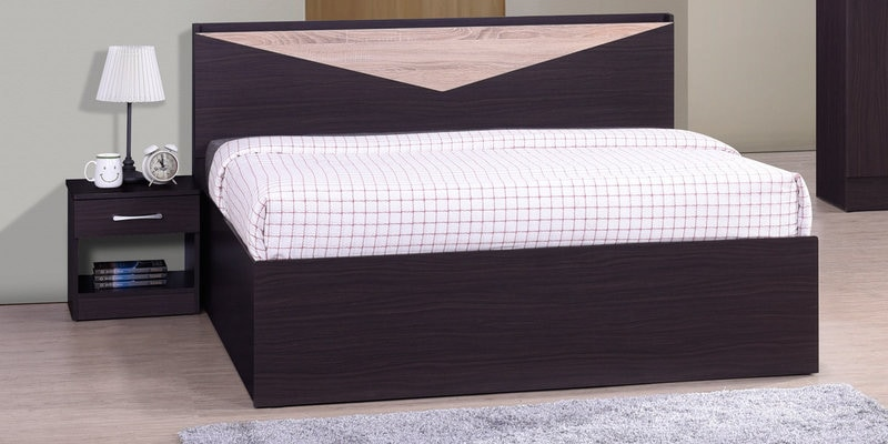 Hiroki Queen Size Bed with Headboard Storage in Walnut Finish by Mintwud