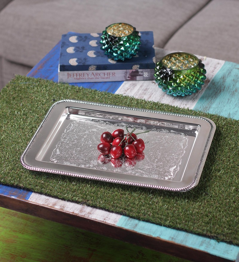 Queen Anne Silver Metal Serving Tray