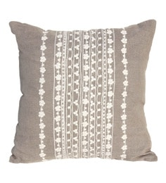 R Home Beige And White Cotton 16 X 16 Inch Embroidery Cushion Covers - Set Of 2