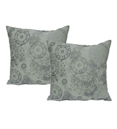 R Home Grey Cotton 16 X 16 Inch Printed Cushion Covers - Set Of 2