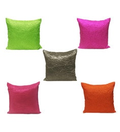 R Home Multicolor Polyester 16 X 16 Inch Solid Cushion Covers - Set Of 5