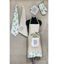 R Home Printed Green Cotton Kitchen Linens - Set Of 5