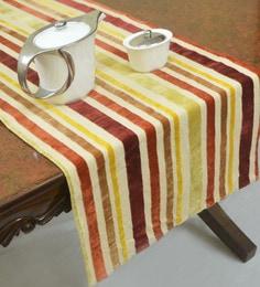 R Home Striped Cotton Velvet Table Runner, Multicolour, 51 X 150 CM