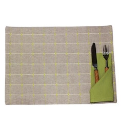 R Home Table Placemats Green Cotton-Set Of 6