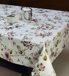 R Home White White Floral Print Table Cover