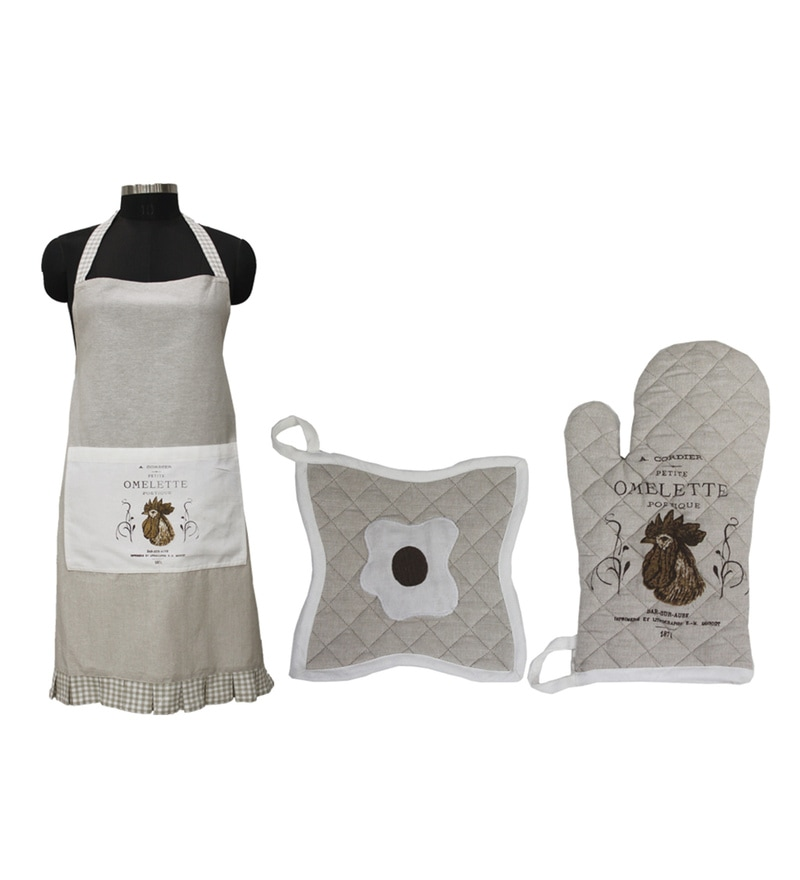R Home Beige Cotton Apron Kitchen Set - Set Of 3