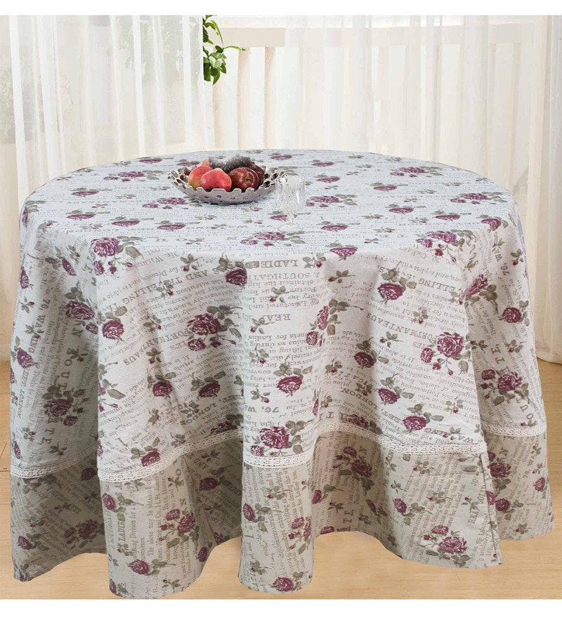 R Home Beige Cotton Table Cover ( Model No: RHTL 105R )