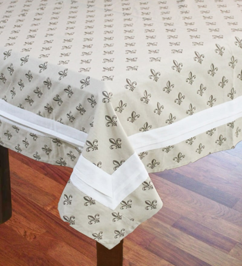 R Home Beige Cotton Table Cover ( Model No: RHTL 110D )