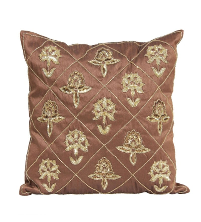 Gold and Brown Polyester 16 x 16 Inch Embroidery Cushion Covers - Set of 2 by R Home