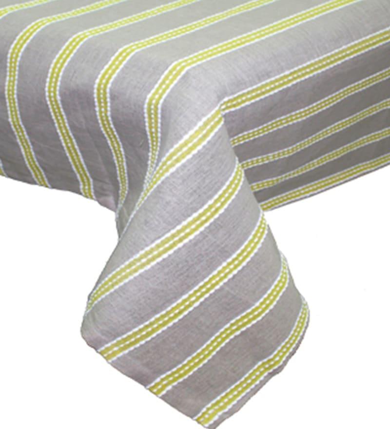 R Home Decorous Linen Stripe Natural Cotton Table Cover