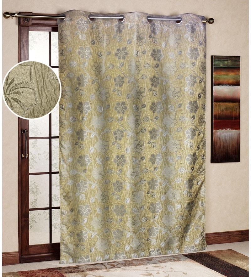 Gold Polyester 45 x 85 Inch Jacquard Eyelet Door Curtain by R Home