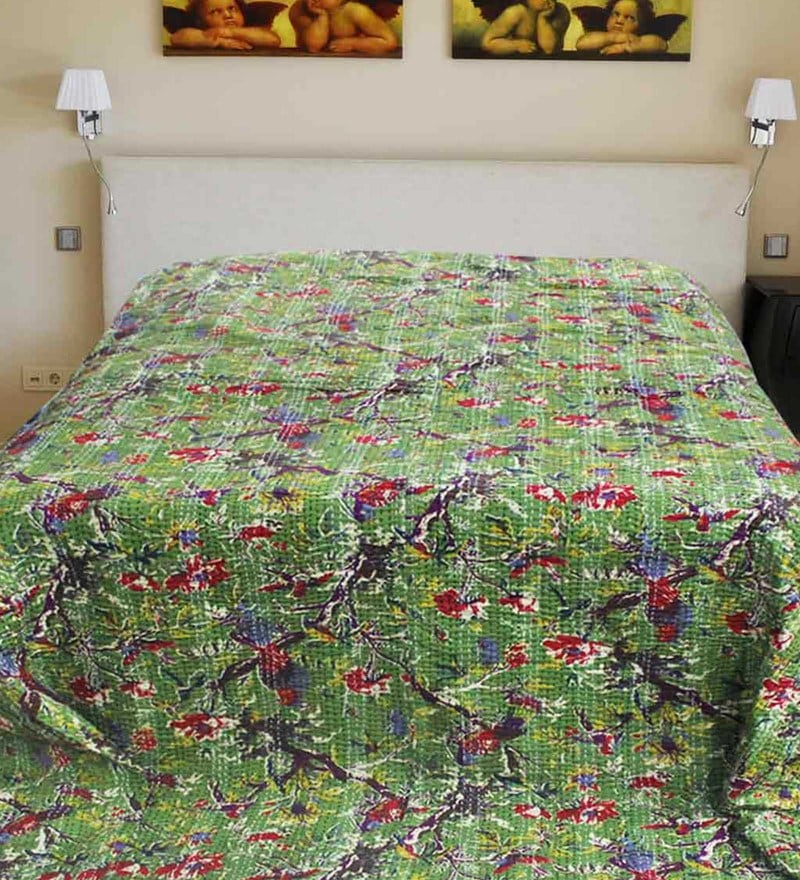R Home Green Cotton 94 x 110 Inch King Size Bed Sheet