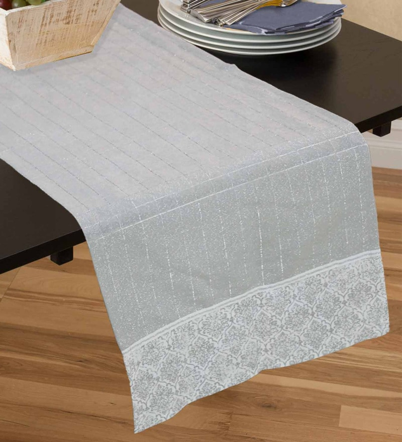 R Home Grey Cotton Table Runner