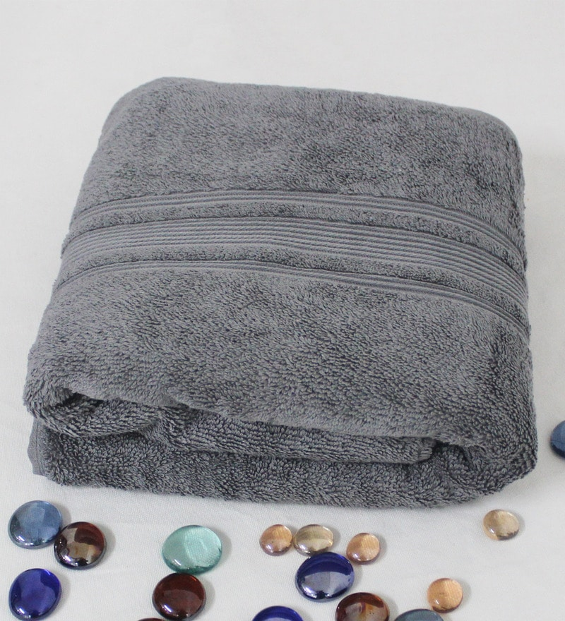 R Home Grey Terry Cotton 30 x 55 Bath Towel