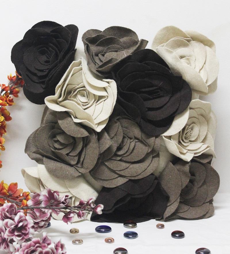Multicolour Cotton & Felt 16 x 16 Inch Cushion Cover by R Home