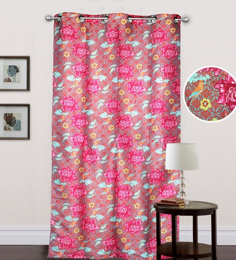 Multicolour Polyester 87 x 41 Inch Flower Eyelet Door Curtain by R Home