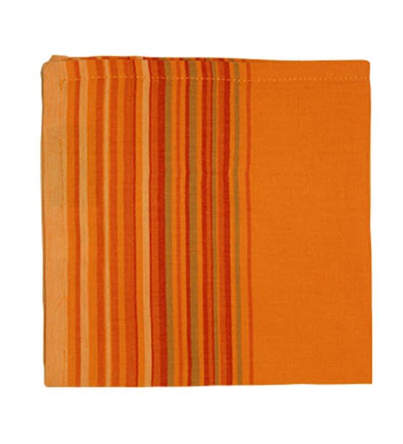 R Home Orange Cotton Table Napkin - Set of 6