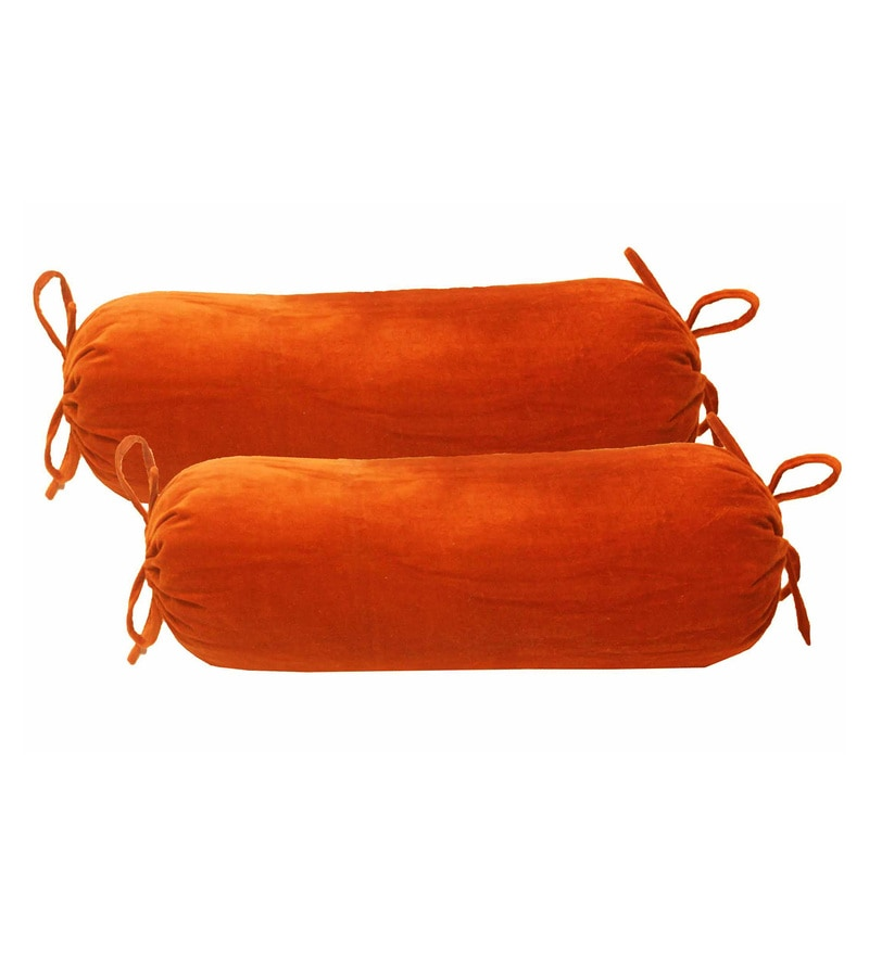 R Home Orange Cotton Velvet 13 x 28 Inch Bolster Cover - Set of 2
