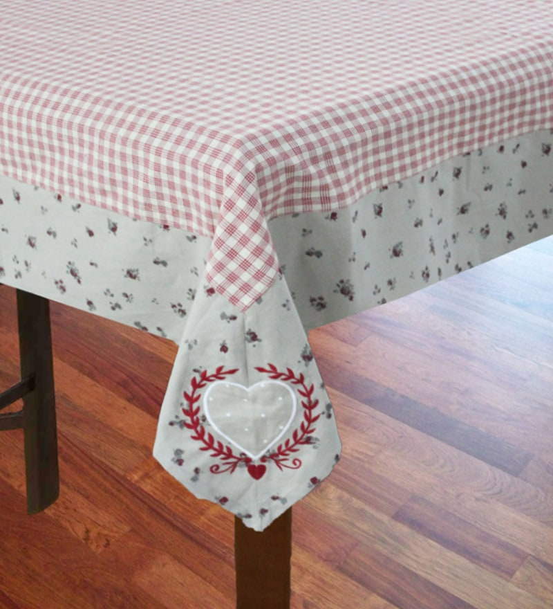R Home Printed Border Red Cotton Table Cover