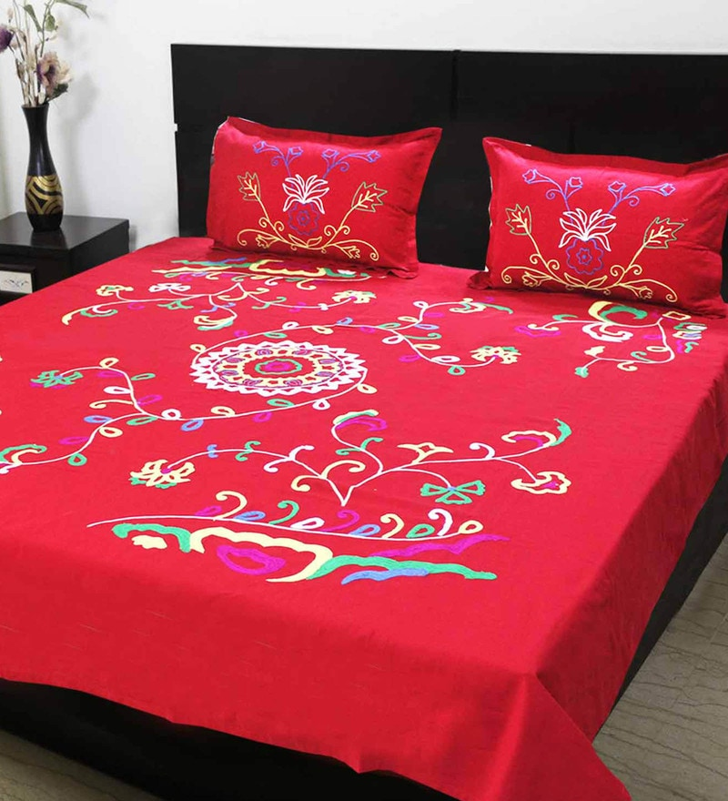 R Home Red Cotton Queen Size Bed Sheet - Set of 3