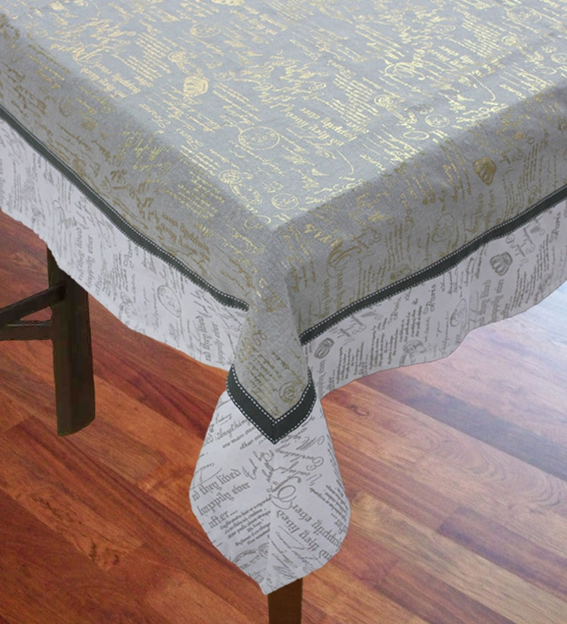 R Home Script Printed Multicolour Cotton Table Cover