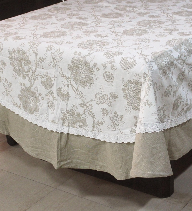 R Home Subtle Beige Cotton Table Cover