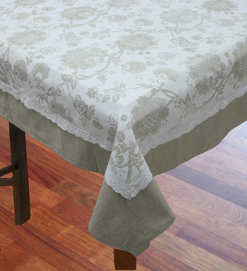 R Home Subtle Print Beige Cotton Table Cover