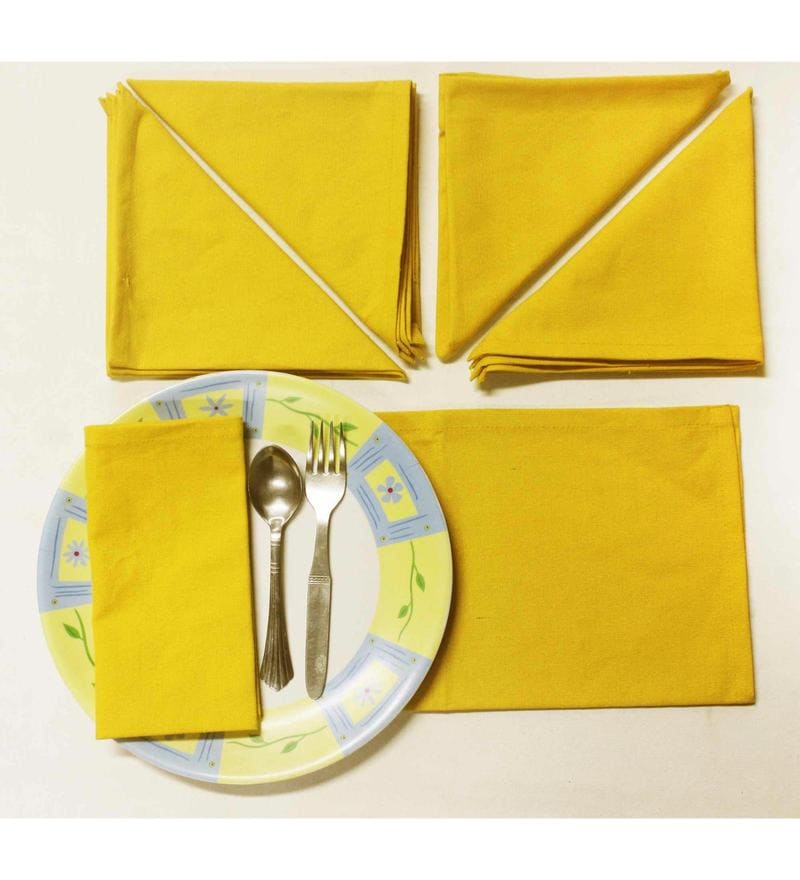 R Home Yellow Cotton Table Napkins - Set of 6
