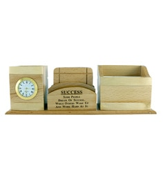 Creame Inspirational Quote Wood Pen Stand Cum Tea Coaster