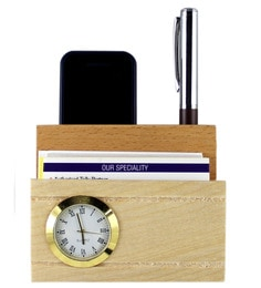 Creame Small Wood Pen Stand With Clock