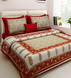 Ethnic Motif 160TC Cotton King Size Bed Sheet With 2 Pillow Covers ...
