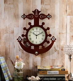 Random Brown Wooden 15 X 2 X 12.5 Inch Anchor Wall Clock