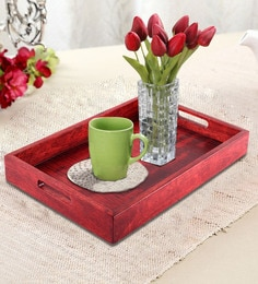 Rang Rage Handpainted Indian Red Wood Rectangle Tray