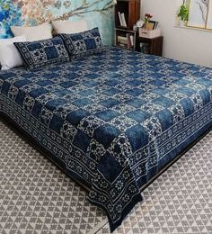 Indigo Cotton Hand Block Printed Organic Dyes Double Bedsheet - 1598305