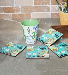 Rangrage Chaiwala Turquoise Blue Mdf Coasters With Stand - Set Of 5