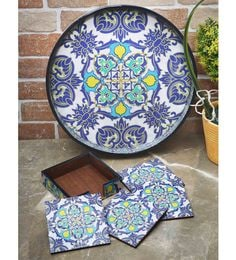 Rangrage Persian Delight Blue Mdf Serving Tray With Coasters - Set Of 5
