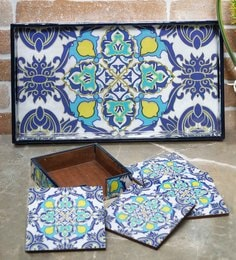 Rangrage Persian Delight Blue Mdf Serving Tray With Coasters - Set Of 5 - 1639339