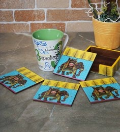 Rangrage Regal Elephant Turquoise Blue Mdf Coasters With Stand - Set Of 5