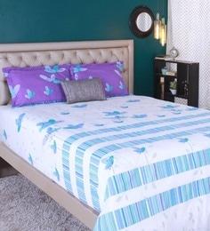 Raymond Home Blue 100% Cotton King Size Bedsheet - Set Of 3 - 1583159