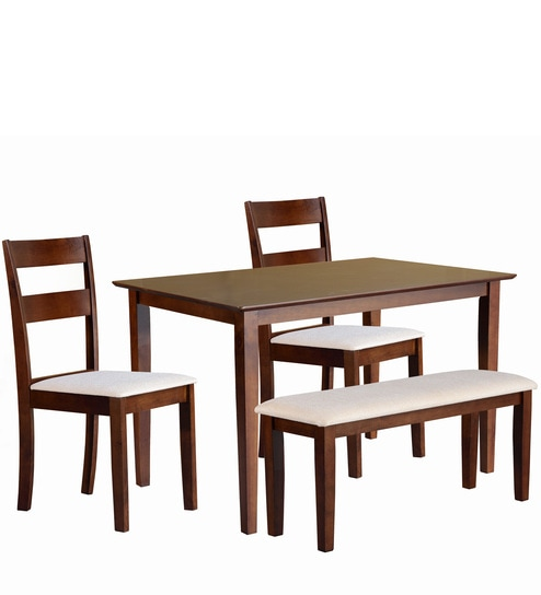 Ramen Four Seater Dining Set with Bench in Antique Oak Finish by Mintwud