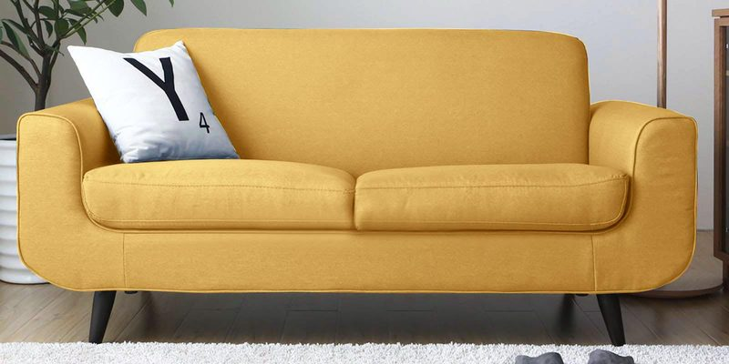 Rafael Two Seater Sofa in Yellow Colour by CasaCraft